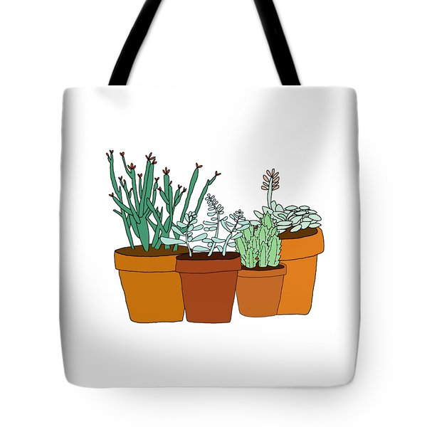 Potted Succulents Tote Bag by Priscilla Wolfe