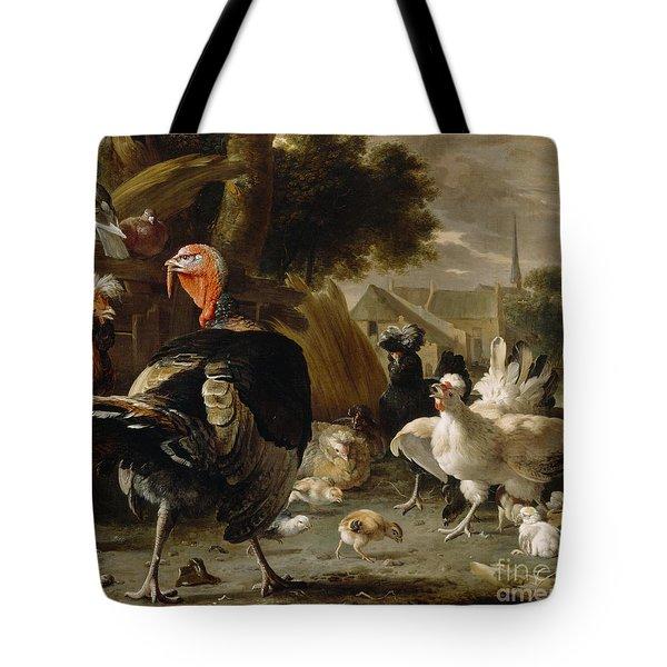 Poultry Yard Tote Bag by Melchior de Hondecoeter