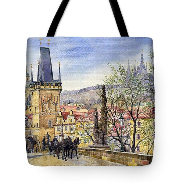 Prague Charles Bridge Spring Tote Bag by Yuriy  Shevchuk