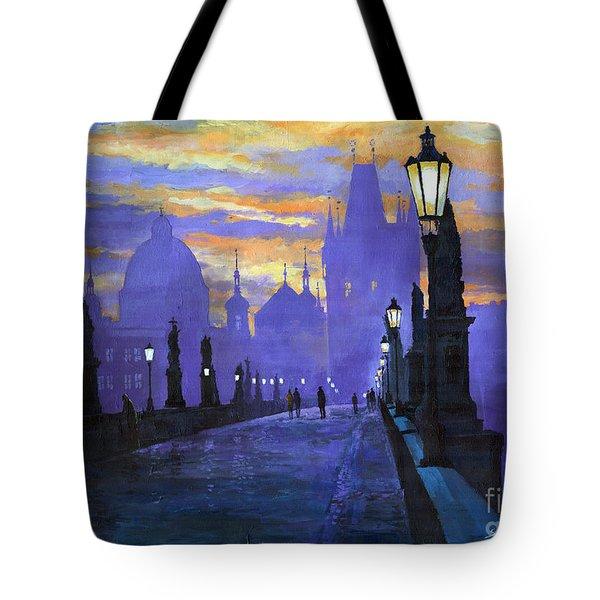 Prague Charles Bridge Sunrise Tote Bag by Yuriy  Shevchuk