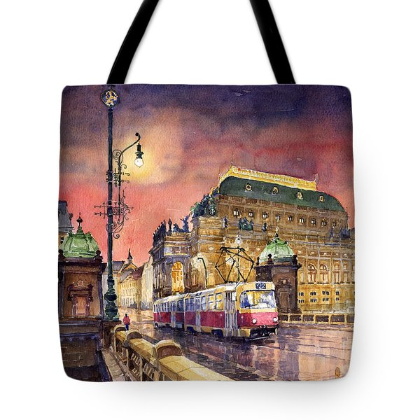 Prague  Night Tram National Theatre Tote Bag by Yuriy  Shevchuk
