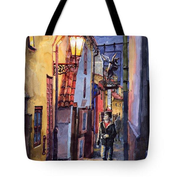 Prague Old Street Golden Line Tote Bag by Yuriy  Shevchuk