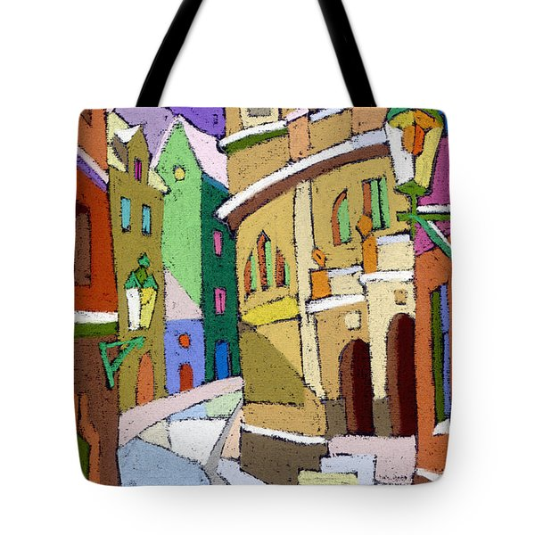 Prague Old Street Karlova Winter Tote Bag by Yuriy  Shevchuk