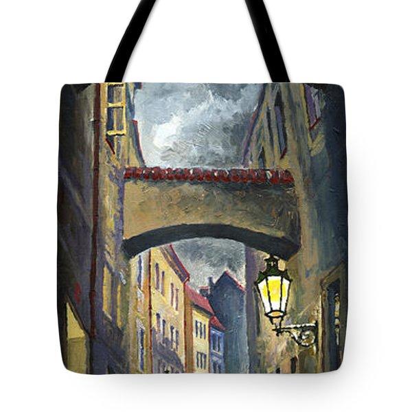 Prague Old Street Love Story Tote Bag by Yuriy  Shevchuk
