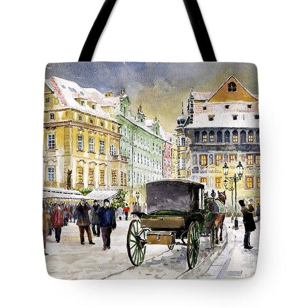 Prague Old Town Square Winter Tote Bag by Yuriy  Shevchuk