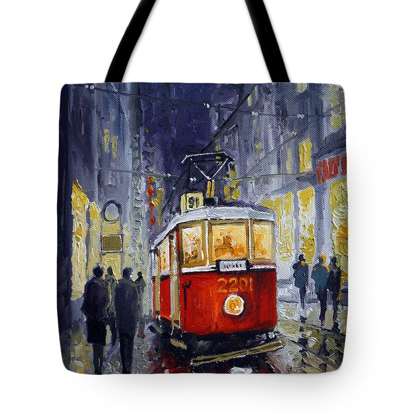 Prague Old Tram 06 Tote Bag by Yuriy  Shevchuk