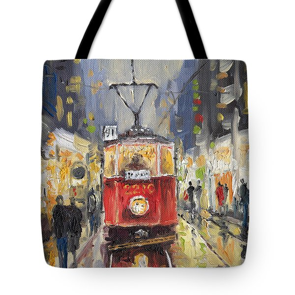 Prague Old Tram 08 Tote Bag by Yuriy  Shevchuk