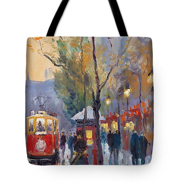 Prague Old Tram Vaclavske Square Tote Bag by Yuriy  Shevchuk