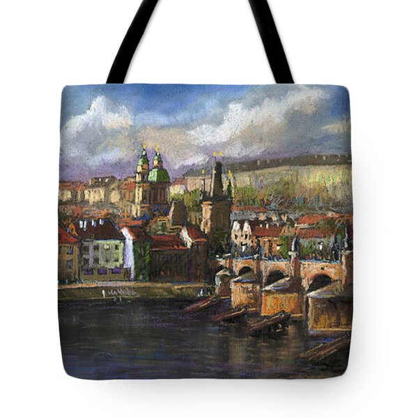 Prague Panorama Charles Bridge Prague Castle Tote Bag by Yuriy  Shevchuk