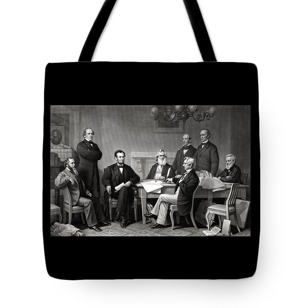 President Lincoln And His Cabinet Tote Bag by War Is Hell Store
