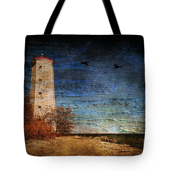 Presquile Lighthouse Tote Bag by Lois Bryan