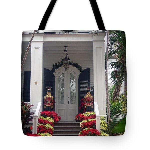 Pretty Christmas Decoration In Key West Tote Bag by Susanne Van Hulst