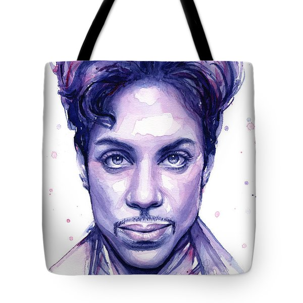 Prince Purple Watercolor Tote Bag by Olga Shvartsur