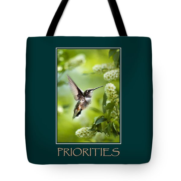 Priorities Inspirational Motivational Poster Art Tote Bag by Christina Rollo