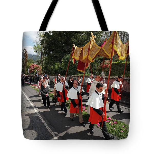 Procession In Azores Islands Tote Bag by Gaspar Avila
