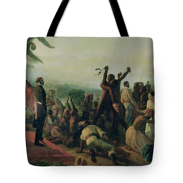 Proclamation Of The Abolition Of Slavery In The French Colonies Tote Bag by Francois Auguste Biard