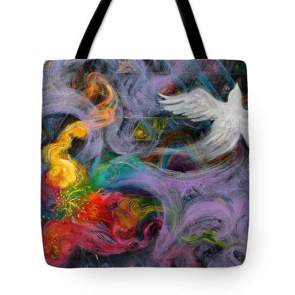 Prophetic Message Sketch Painting 10 Divine Pattern Dove Tote Bag by Anne Cameron Cutri