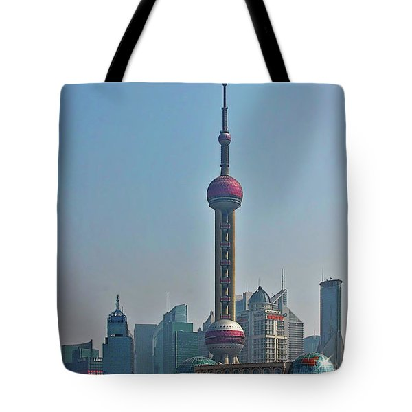 Pudong Shanghai Oriental Perl Tower Tote Bag by Christine Till