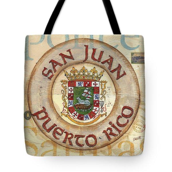 Puerto Rico Coat of Arms Tote Bag by Debbie DeWitt