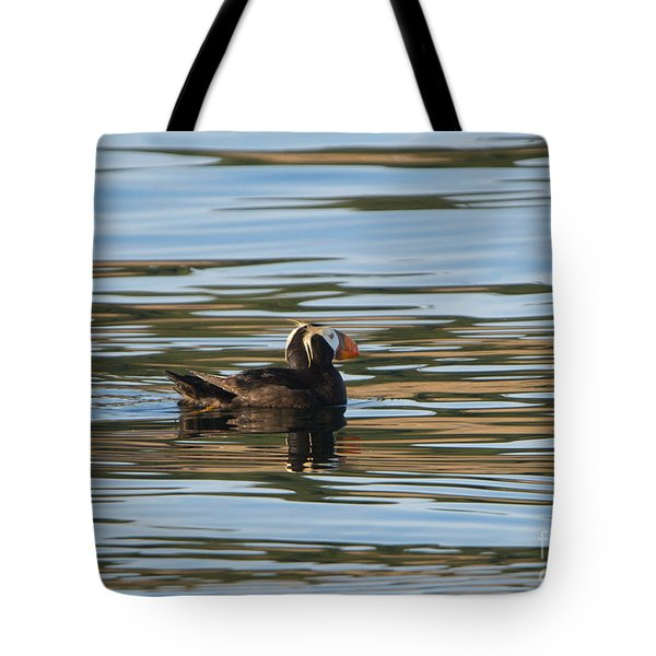 Puffin Reflected Tote Bag by Mike Dawson
