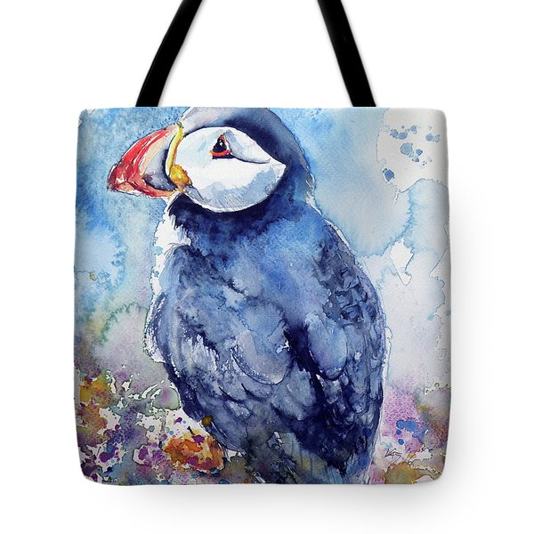 Puffin With Flowers Tote Bag by Kovacs Anna Brigitta