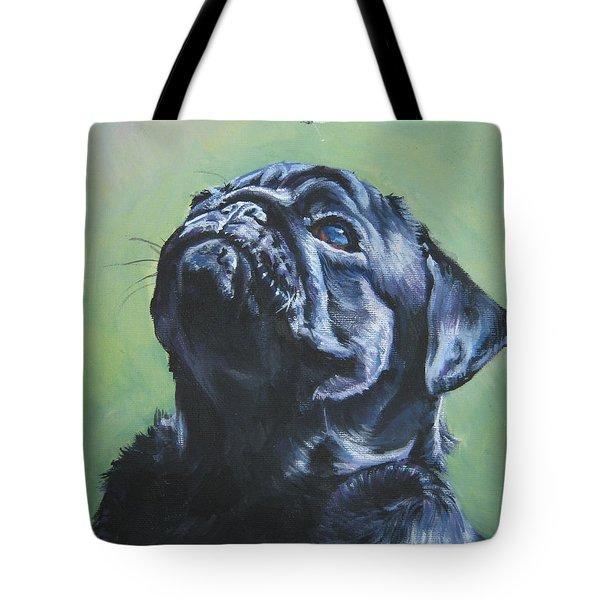 Pug Black Tote Bag by L A Shepard