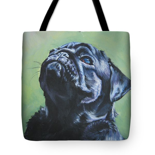 Pug black  Tote Bag by L A Shepard