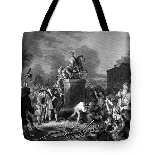 Pulling down the statue of George III Tote Bag by War Is Hell Store
