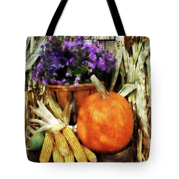 Pumpkin Corn And Asters Tote Bag by Susan Savad