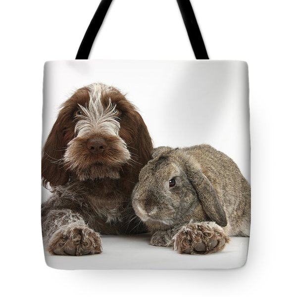 Puppy And Rabbt Tote Bag by Mark Taylor