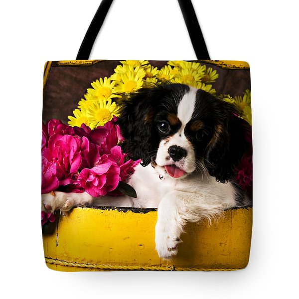 Puppy in yellow bucket  Tote Bag by Garry Gay