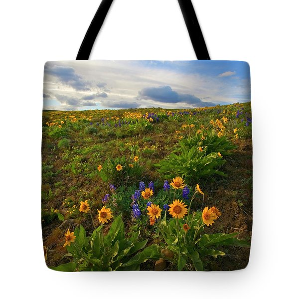 Purple And  Gold Tote Bag by Mike  Dawson