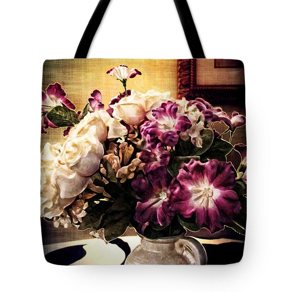 Purple Floral Arrangement Tote Bag by Joan  Minchak