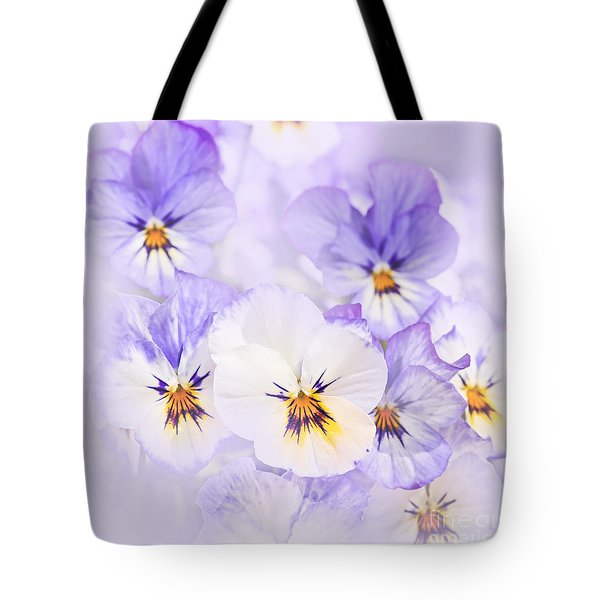 Purple Pansies Tote Bag by Elena Elisseeva