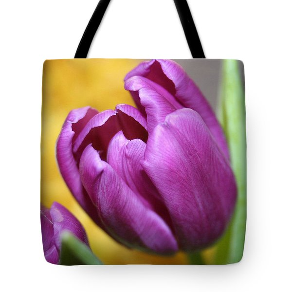 Purple Spring Tote Bag by Linda Sannuti
