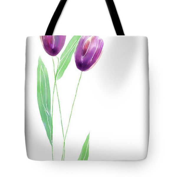 Purple Tulips Tote Bag by Arline Wagner