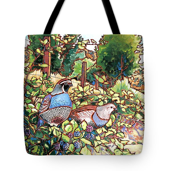 Quails And Blackberries Tote Bag by Nadi Spencer