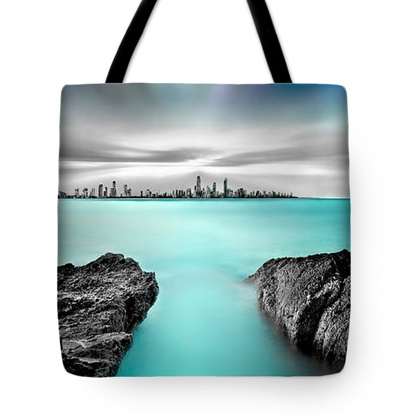 Quantum Divide Panorama Tote Bag by Az Jackson