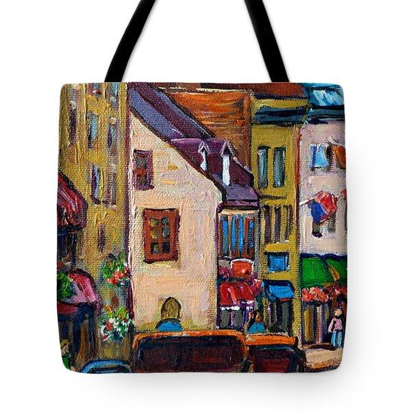 Quebec City Street Scene  Caleche Ride Tote Bag by Carole Spandau