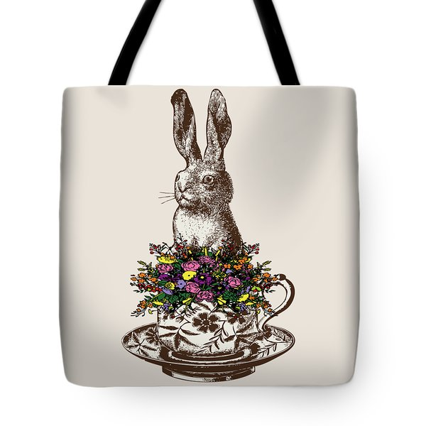 Rabbit In A Teacup Tote Bag by Eclectic at HeART