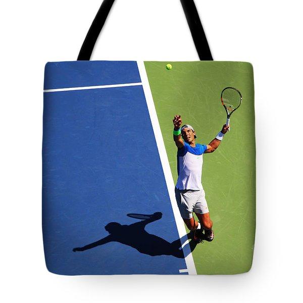 Rafeal Nadal Tennis Serve Tote Bag by Nishanth Gopinathan