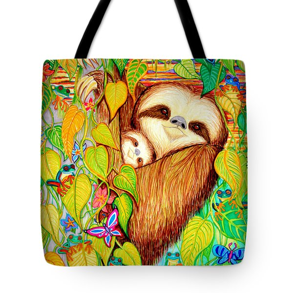 Rain Forest Survival Mother And Baby Three Toed Sloth Tote Bag by Nick Gustafson