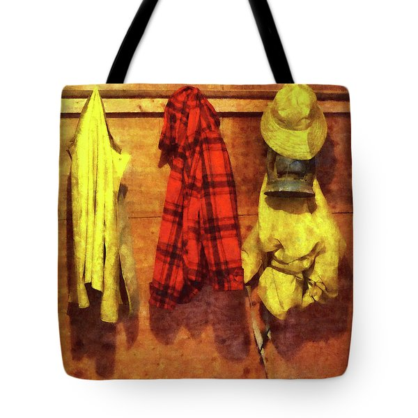 Rain Gear And Red Plaid Jacket Tote Bag by Susan Savad