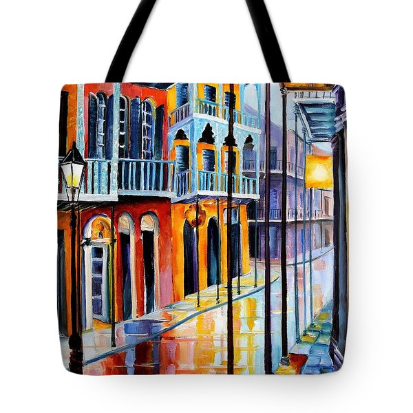 Rain on Royal Street Tote Bag by Diane Millsap