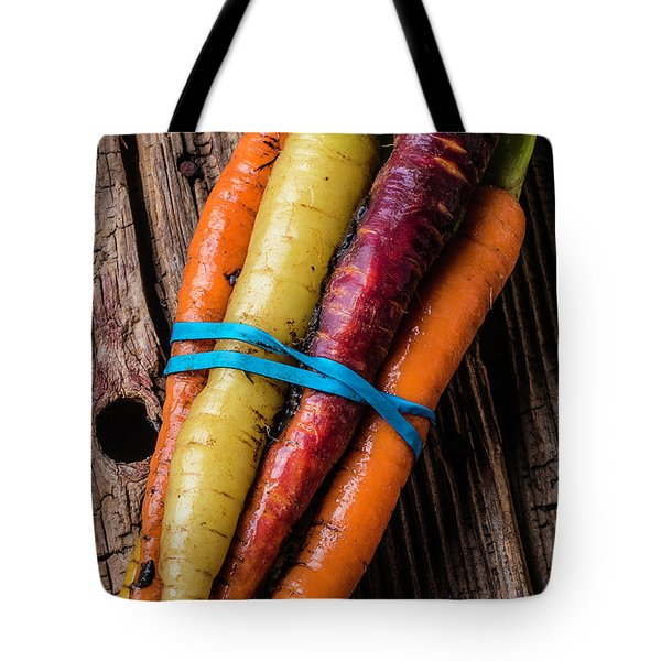 Rainbow Carrots Tote Bag by Garry Gay