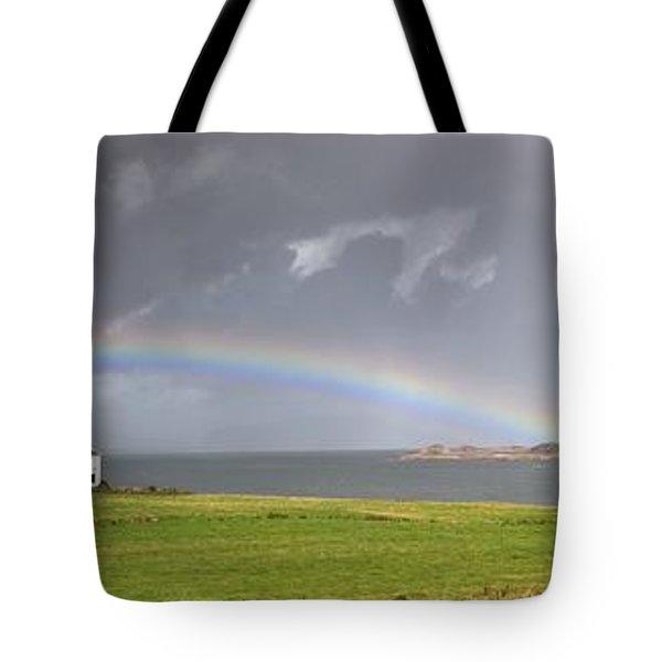 Rainbow, Island Of Iona, Scotland Tote Bag by John Short