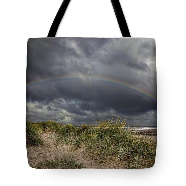 Rainbow Lighthouse Tote Bag by Adrian Evans