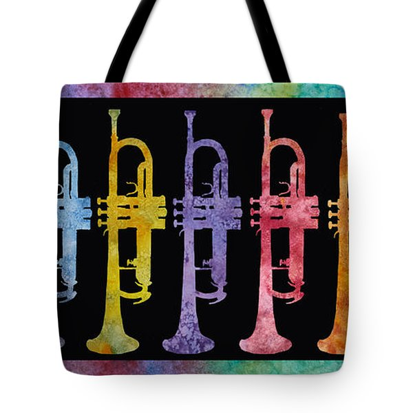 Rainbow Of Trumpets Tote Bag by Jenny Armitage