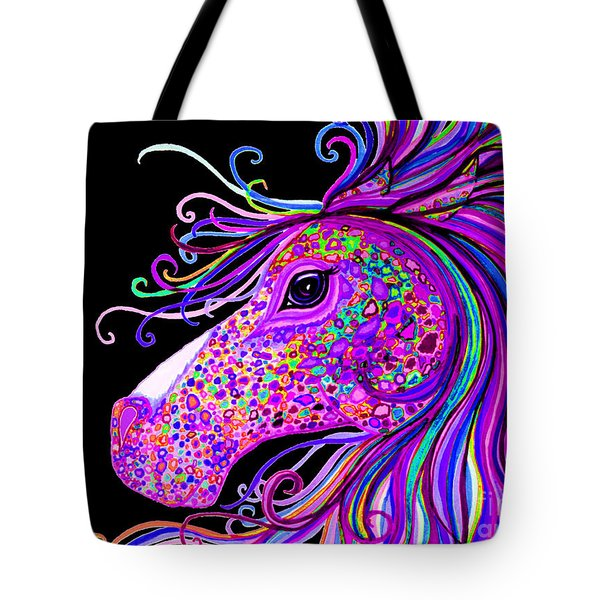Rainbow Spotted Horse Head 2 Tote Bag by Nick Gustafson