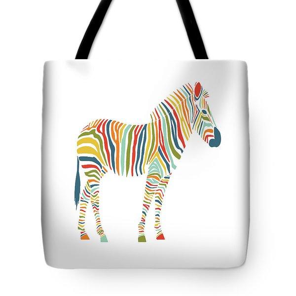 Rainbow Zebra Tote Bag by Nicole Wilson